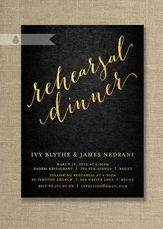 Gold & Black Rehearsal Dinner Invitation by digibuddhaPaperie, $20.00