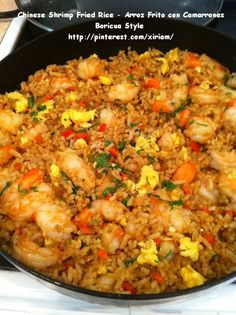 """My Puertorrican Chinese Shrimp Fried rice, what a hit.  My friends loves this recipe. Uhmm """"yummilicious""""."""