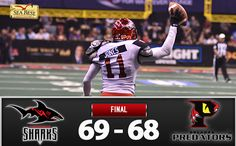 The Jacksonville Sharks picked the perfect time for the first overtime win in franchise history. With his team needing a score in overtime, Derrick Ross took a handoff into the end zone and then scored again on the ensuing two-point conversion, clinching the Sharks' 69-68 victory over the Orlando Predators at Amway Center on Saturday night  http://sumo.ly/mWEh