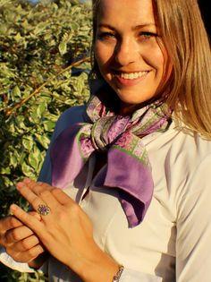 Fashion, Lilac, Accessories, Pink And Green, Silk Shawl, Floral Patterns, Dirndl, Scarves, Schmuck