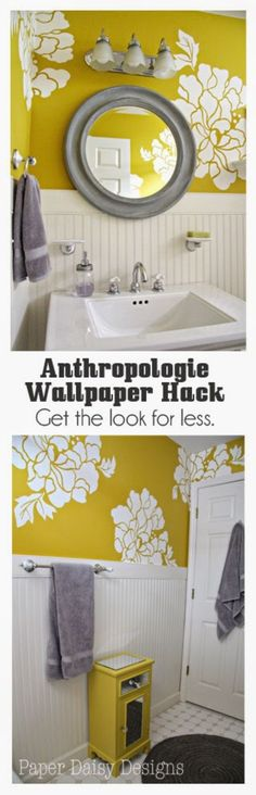 Anthropologie DIY Hacks, Clothes, Sewing Projects and Jewelry Fashion - Pillows, Bedding and Curtains - Tables and furniture - Mugs and Kitchen Decorations - DIY Room Decor and Cool Ideas for the Home | Anthropologie Wallpaper Hack | http://diyprojectsforteens.com/diy-anthropologie-hacks