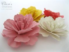 Paper Carnation Flower Tutorial (Video!)   Clare's creations