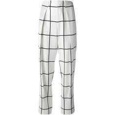CHLOE checked trousers ($815) ❤ liked on Polyvore featuring pants, white trousers, highwaist pants, high-waisted pants, white silk pants and pleated pants