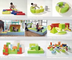 PLAY+ furnitures for children - modular forms. Reggio furniture/play objects transforming spaces.