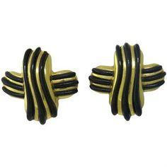1980s Angela Cummings Gold Onyx Earrings
