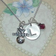 I love Soccer Hand Stamped Sterling Silver Initial Charm Necklace by DolphinMoonCreations, $34.00