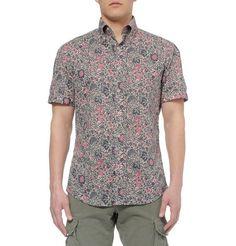 Michael BastianPrinted Cotton Short Sleeved Shirt