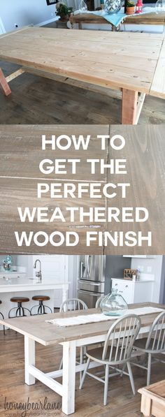 to Get a DIY Weathered Wood Finish I've been looking for a good DIY weathered wood finish tutorial and this one is perfect!I've been looking for a good DIY weathered wood finish tutorial and this one is perfect! Furniture Projects, Furniture Makeover, Diy Projects, Diy Furniture Finishes, Furniture Design, Furniture Plans, Chair Design, Diy Farmhouse Table, Farmhouse Style
