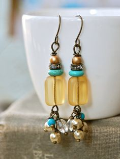 Sadie.glass beadedpearl dangle earrings. by tiedupmemories
