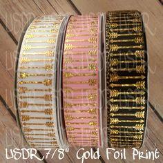 "USDR Valentine Sweet Tart collection 7/8"" grosgrain ribbon, Gold foil Arrows USDR, US Designer valentine ribbon, crafting supply, bow supply by JJsBowsTuTusAndMore on Etsy"