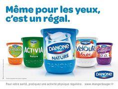 Danone yogurt brands- each pot a different color, but same same!