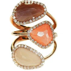 Moonstone Diamond Rose Gold Ring ($2,000) ❤ liked on Polyvore featuring jewelry, rings, red, rose gold diamond ring, 18k rose gold ring, pink gold rings, moonstone jewellery and rose gold jewelry