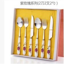 Free shipping France 6pcs High quality laguiole stainless steel dinnerware/cutlery set in a gift box,tableware& flatware set