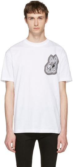 MCQ BY ALEXANDER MCQUEEN White 'Bunny Be Here Now' T-Shirt. #mcqbyalexandermcqueen #cloth #t-shirt