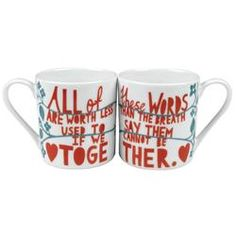 Buy Rob Ryan His 'n' Her Together Mugs today at IWOOT. We have great prices on gifts, homeware and gadgets with FREE delivery available. Valentines Mugs, Valentines Day Gifts For Her, Coffee Mug Sets, Mugs Set, Coffee Break, Coffee Time, Rob Ryan, Australian Gifts, Best Valentine's Day Gifts