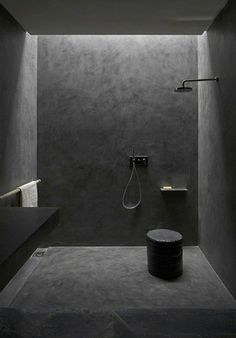 Studio KO - Villa E - Marrakech - ©Dan Glaser > Black Bathroom stucco tadelakt bath modern Minimal Bathroom, Modern Bathroom, Black Bathrooms, Modern Shower, Small Bathroom, Morrocan Bathroom, Charcoal Bathroom, Industrial Bathroom, Interior Design Examples
