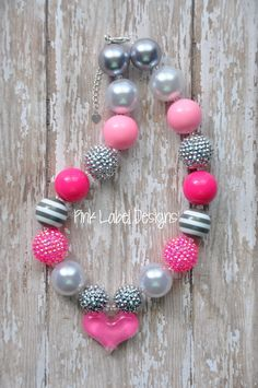 Pink White & Gray Chunky Bead Necklace with by PinkLabelDesign, $20.00
