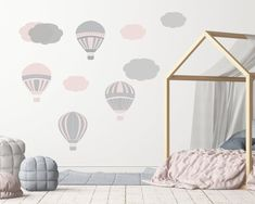Just added thes cute Hot Air Ballons decals to our Etsy store. Playroom Design, Playroom Decor, Wall Art Decor, Kids Wall Decals, Nursery Wall Decals, Wall Stickers, Hot Air Balloon, Room Interior, Kids Room