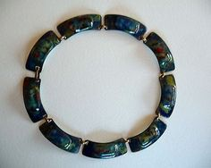 Vintage Signed Kay Denning Modernist Copper Foiled Opal Enamel Necklace | eBay