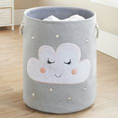 Kids Laundry Hamper Cloud is part of Cool Home Accessories Kids - Kids Laundry Hamper Flamingo Brighten up children's bedrooms with this cool Laundry Hamper Buy more laundry hampers and accessories at B&M stores Kids Hamper, Baby Hamper, Laundry Hamper, Hamper Ideas, Kids Room Accessories, Clouds Nursery, Cloud Nursery Decor, Nursery Ideas, Baby Room Decor