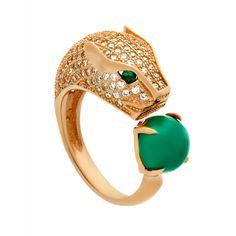 Gorgeous Gold Green Eyed Jaguar Ring with Swarovski and Jade Stones - TZARO Jewelry - 1