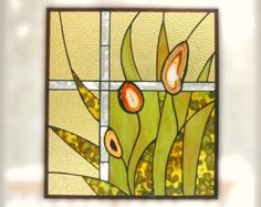 SALE Stained Glass Window Panel Kitchen Decor от FleetingStillness
