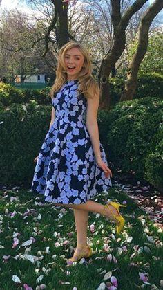 blue black flower dress yellow shoes
