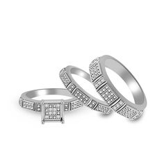 Pretty Jewellery 0.06 Ct Round Cut Diamond Accents His And Hers Engagement Weddings Band Trio Ring Set (white-gold-plated-silver, 7.5). Metal : Sterling Silver Stamped With 925. Main Stone : Natural Diamond, Main Stone Colour : H. Stone Clarity : I1-I2 , Stone Shape : Round. Standard Ring Size Mens : US 9,10,11,12,13,14,15 , Womens : US 5,6,7,8,9,10 Ring Sizes are Available. Kindly Confirm Your Ring Size Within 24 Hours, if Not we start process as standard ring size.