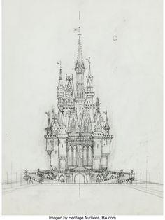 Elmer Plummer - Disneyland Concept Art Group of 8 (Walt Disney, Elmer Plummer did a great amount of - Available at 2016 June 11 - 12 Animation Art. Walt Disney Imagineering, Walt Disney Co, Disney Love, Disney Magic, Disney Art, Disney Castle Drawing, Disney Drawings, Disneyland Castle, Bg Design
