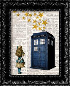 Doctor Who Starry Night Tardis Art Print, Alice in Wonderland Print, Dr. Who Wall Art, , Tardis, Vintage Dictionary Book Art Print