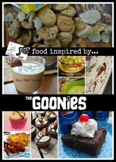 A roundup of food (and drink) inspired by The Goonies for Food 'n Flix. Movie Night For Kids, Dinner And A Movie, Family Movie Night, 80s Food, Food N, Food And Drink, Goonies Party, Disney Inspired Food, Night Food