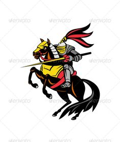 Buy Knight on Horse with Sword by patrimonio on GraphicRiver. Illustration of knight in full armor on a horse brandishing a sword done in retro style. Editable (you can use a. Horse Illustration, Graphic Illustration, Vector Graphics, Vector Art, Motion Graphics, Knight On Horse, Unicorn Logo, Ecommerce Logo, Logo Images