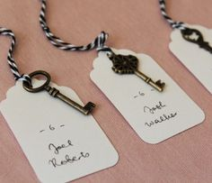 Present your Enchanting Skeleton Key Escort Tags on a table or board right near the entrance and let the vintage romance fill the air. These creative escort card ideas take your wedding up a step. Go for creative wedding ideas.