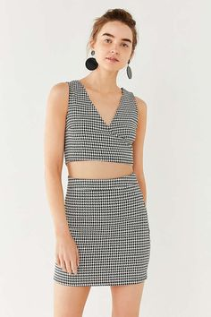 UO Houndstooth Wrap Two-Piece Set