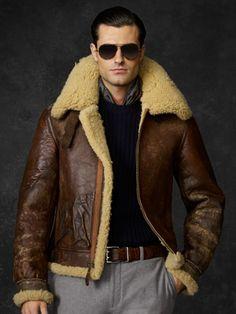 Shawl Collar Barnstormer Leather Jacket Horsehide Aero