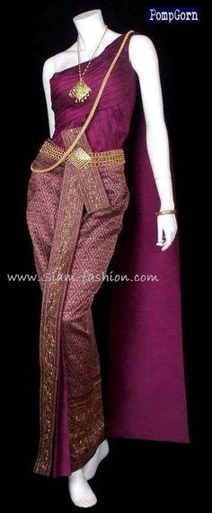 traditional thai wedding dress (gorgeous, love the vibrant color) thanks siam-fashion.com