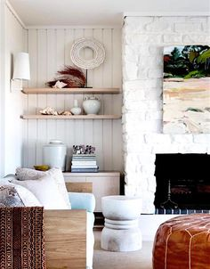 Emily Henderson Lake House Fixer Upper Mountain Home Decor Fireplace Ideas Rustic Refined Simple White Wood Stone 131 Whitewash Stone Fireplace, Home Fireplace, Beach Style Fireplace Mantels, Fireplace Ideas, Brick Fireplaces, Coastal Living Rooms, Living Room Decor, Living Spaces, Interior Exterior