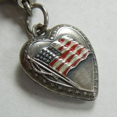 """Sterling Silver Puffy Heart Charm ~ Enamel American Flag ~ Engraved """"Ann"""" from the-big-o on Ruby Lane"""