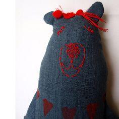 Bear cuddly plushie Linen bear toy Fabric by AbracadabraAndStuff Softies, Plushies, Teddy Bear Toys, Dmc Floss, Craft Box, Girl Gifts, Linen Fabric, Valentine Gifts, Textiles
