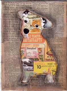 Collage of different animals onto different papers (e.g. book/music pages) and framed (preferably gold/silver) as part of arrangement. @sallsop1987
