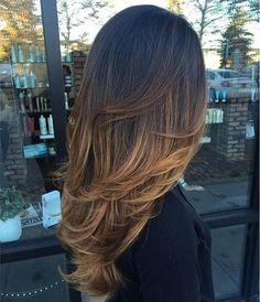 Meche caramel sur cheveux brun