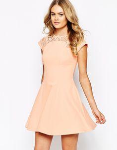 Image 1 ofRiver Island Lace Insert Skater Dress