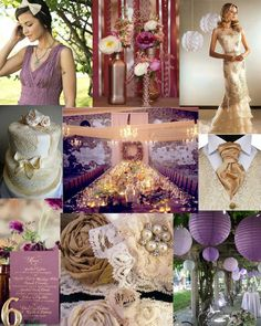 wedding colours - gold, violet