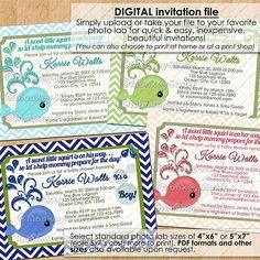 Chevron Whale Baby Shower Invitations / boy blue girl pink green / ocean sea animal whales / DIGITAL INVITATION on Etsy, $16.00