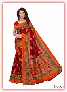 Shonaya Women`S Party Wear Bhagalpuri Silk Printed Saree Sari (Red) Fancy Sarees, Party Wear Sarees, Elegant Saree, Art Silk Sarees, Designer Sarees Online, Printed Sarees, Bollywood Fashion, Bollywood Style, Indian Sarees