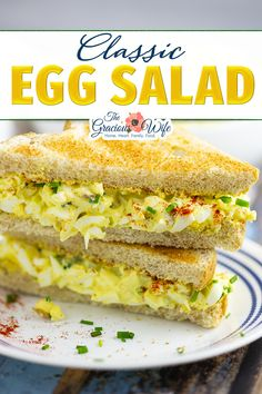 Classic egg salad should be creamy, tangy, and perfect for sandwiches. This delicious homemade recipe is easy to make and the best you'll ever have! Creamy, tangy, and perfect for sandwiches classic egg salad is an American favorite. It's super easy to make, and makes a wonderful, simple lunch. | The Gracious Wife @thegraciouswife #eggsaladrecipes #eggsaladrecipe #easyeggsalad #southerneggsalad #besteggsaladrecipe #lunchideas #lunchboxideas #thegraciouswife Best Lunch Recipes, Supper Recipes, Most Popular Recipes, Favorite Recipes, Vegetarian Recipes, Snack Recipes, Classic Egg Salad Recipe, Best Egg Salad Recipe, Salad Recipes