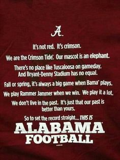 RTR!!!  This is Alabama Football!!