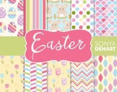 Easter Digital Paper Easter clipart Easter by StripedElephants