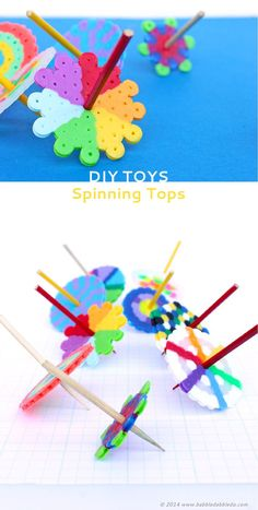 Make these easy DIY Toys: Spinning Tops using Perler beads - fun project for a makerspace lesson.