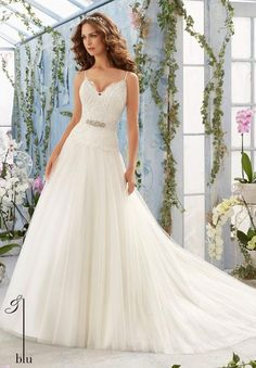 Blu - Embroidered Bodice with Satin Shoulder Straps on Soft Net Ball Gown Removable Beaded Organza Tie Sash #11228